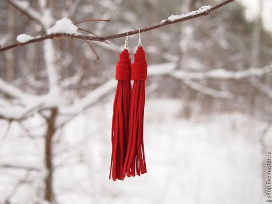 Серьги ручной работы. Ярмарка Мастеров - ручная работа. Купить Красные Серьги-Кисти из  замши (Indiana Red). Handmade.