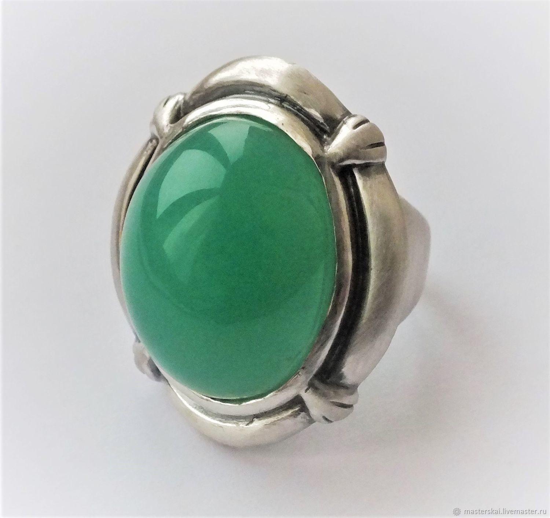 Ring 'Bertha' - chrysoprase, 925 silver, Rings, Moscow,  Фото №1