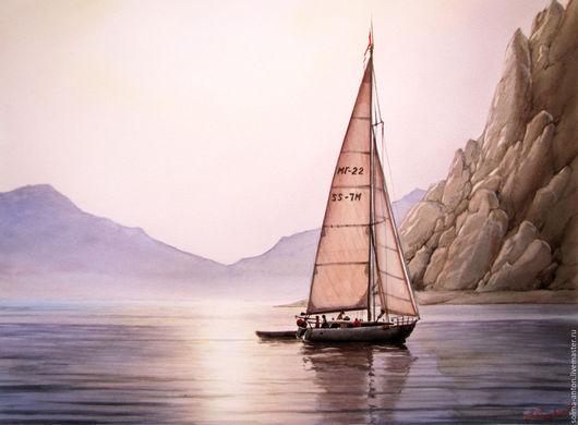 """Пейзаж ручной работы. Ярмарка Мастеров - ручная работа. Купить """"Вечер на море"""". Handmade. Бледно-сиреневый, море, скалы, закат"""