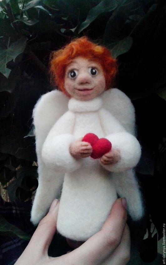 Коллекционные куклы ручной работы. Ярмарка Мастеров - ручная работа. Купить Ангелочек из шерсти. Handmade. Сказочный персонаж, войлочная игрушка