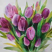 Картины и панно ручной работы. Ярмарка Мастеров - ручная работа Акварель Фиолетовые тюльпаны. Handmade.