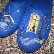 """Обувь ручной работы. Ярмарка Мастеров - ручная работа """"Вечерок"""" валяные тапочки. Handmade."""