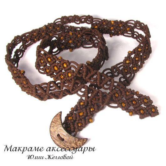 Пояса, ремни ручной работы. Ярмарка Мастеров - ручная работа. Купить Плетеный пояс с кокосовой пуговицей. Handmade. Пояс, коричневый