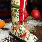 """Для дома и интерьера ручной работы. Ярмарка Мастеров - ручная работа Ваза для цветов """"Сапожок с подарками"""". Handmade."""