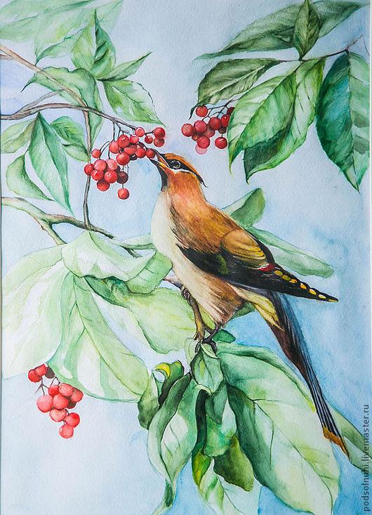 """Животные ручной работы. Ярмарка Мастеров - ручная работа. Купить Акварель """"Птица в красных ягодах"""". Handmade. Акварель, ягоды, листва"""