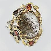 Украшения handmade. Livemaster - original item 925 sterling silver ring with rutile quartz and spessartin garnets. Handmade.
