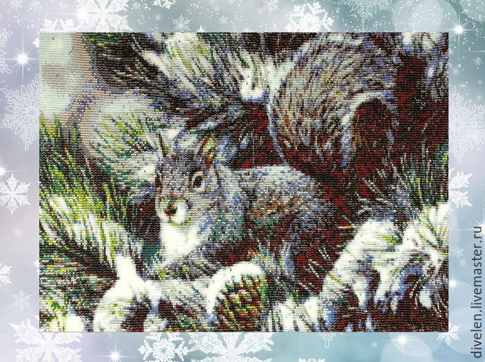 Tapestry beaded SQUIRREL, Tree, Divnogorsk,  Фото №1