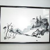 Картины и панно ручной работы. Ярмарка Мастеров - ручная работа картина пезаж Дереня зимой суми-е. Handmade.