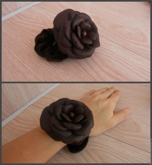 Заколки ручной работы. Резинка-цветок для волос. Света (sveta-kozha). Интернет-магазин Ярмарка Мастеров. Цветок из кожи