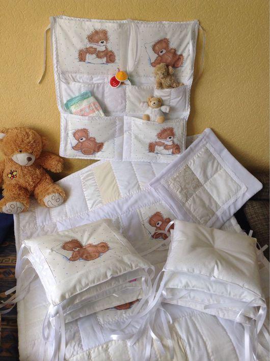 Для новорожденных, ручной работы. Ярмарка Мастеров - ручная работа. Купить Комплект белоснежный. Handmade. Бортики в кроватку, новорожденной девочке