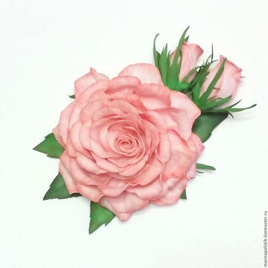 """Броши ручной работы. Ярмарка Мастеров - ручная работа. Купить Брошь из фоамирана """"Розовая нежность"""". Handmade. Бледно-розовый, фоамиран"""