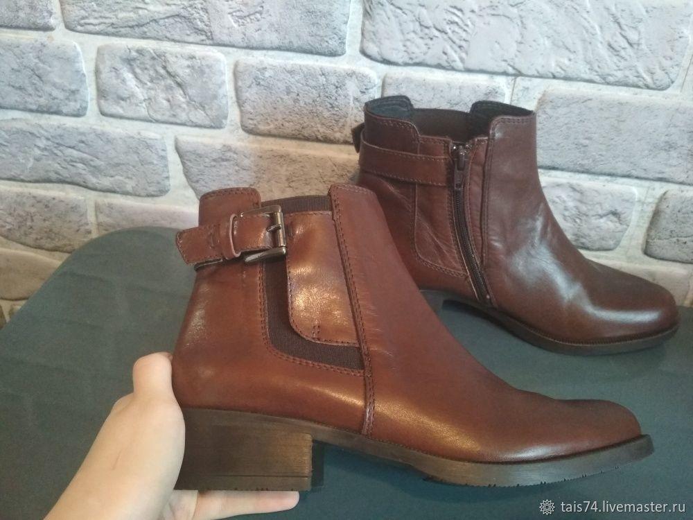 Винтаж: Итальянские ботинки из натуральной кожи, без каблука, Обувь винтажная, Челябинск,  Фото №1