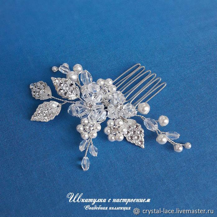 Свадебный гребень с цветами, украшение для волос, Украшения в прическу, Москва,  Фото №1