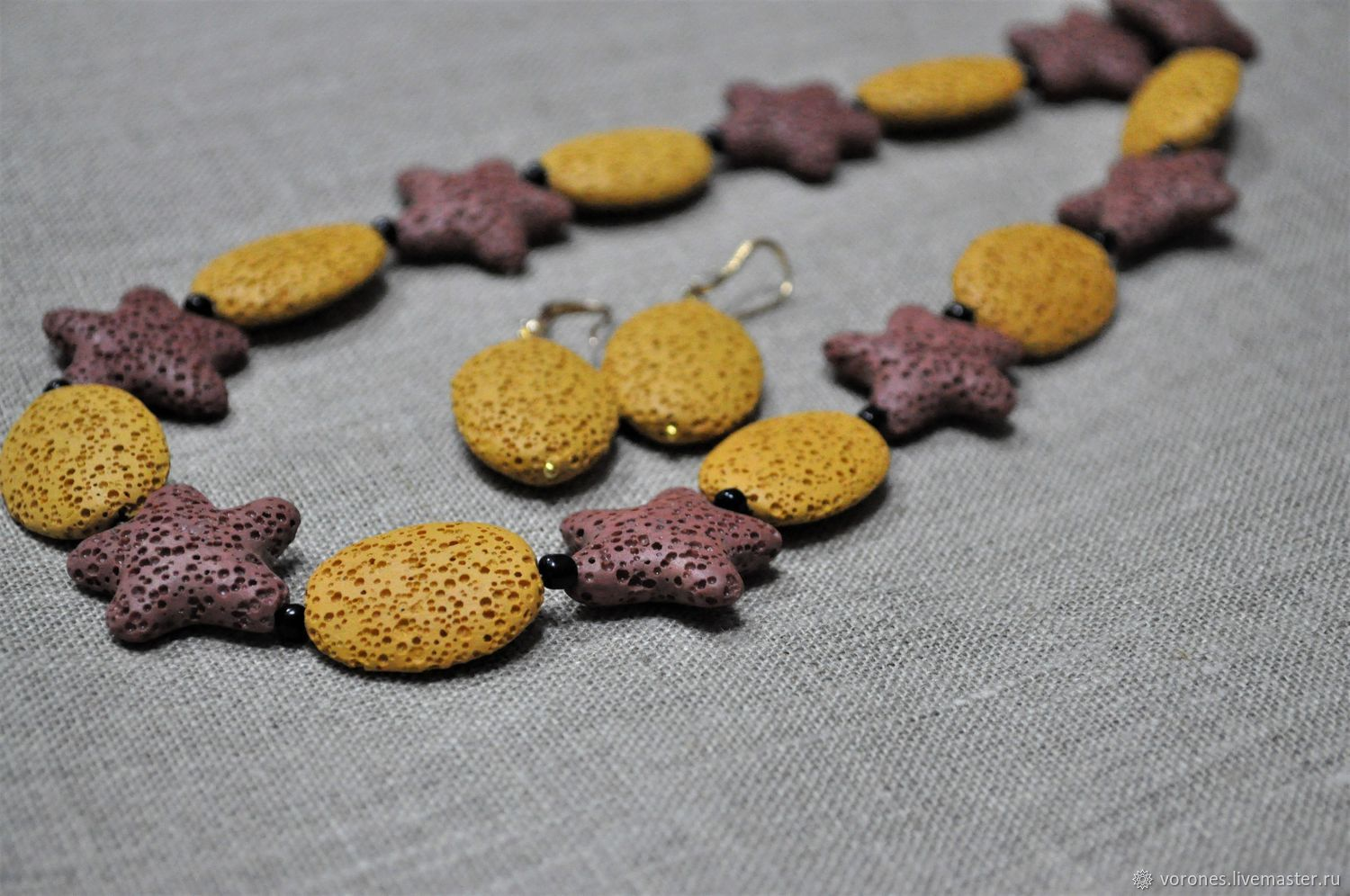 Set of natural lava ' Starfish', Jewelry Sets, Moscow,  Фото №1