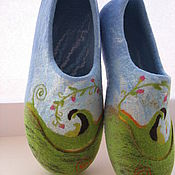 """Обувь ручной работы. Ярмарка Мастеров - ручная работа """"Весна идет!"""" валяные тапочки. Handmade."""