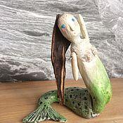 Для дома и интерьера ручной работы. Ярмарка Мастеров - ручная работа Русалка в изящном изгибе. Кукла-статуэтка из дерева и керамики. Handmade.