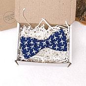 handmade. Livemaster - original item Blue bow tie with planes. Handmade.
