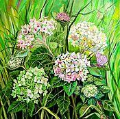 Картины и панно handmade. Livemaster - original item The hydrangea Bush, oil painting. Handmade.