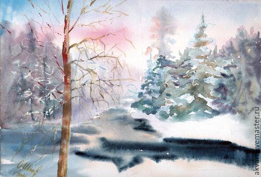 Пейзаж ручной работы. Ярмарка Мастеров - ручная работа. Купить Картина акварелью. Зимняя речка в лесу.. Handmade. Синий