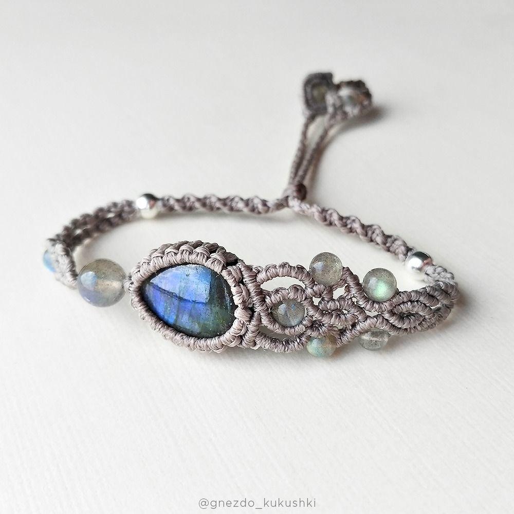 Labrador bracelet natural stone blue grey asymmetric boho, Braided bracelet, Kursk,  Фото №1