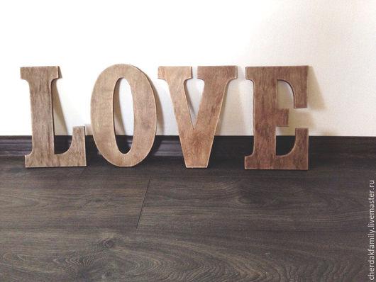 Интерьерные слова ручной работы. Ярмарка Мастеров - ручная работа. Купить Буквы из фанеры LOVE. Handmade. Коричневый, деревянное слово