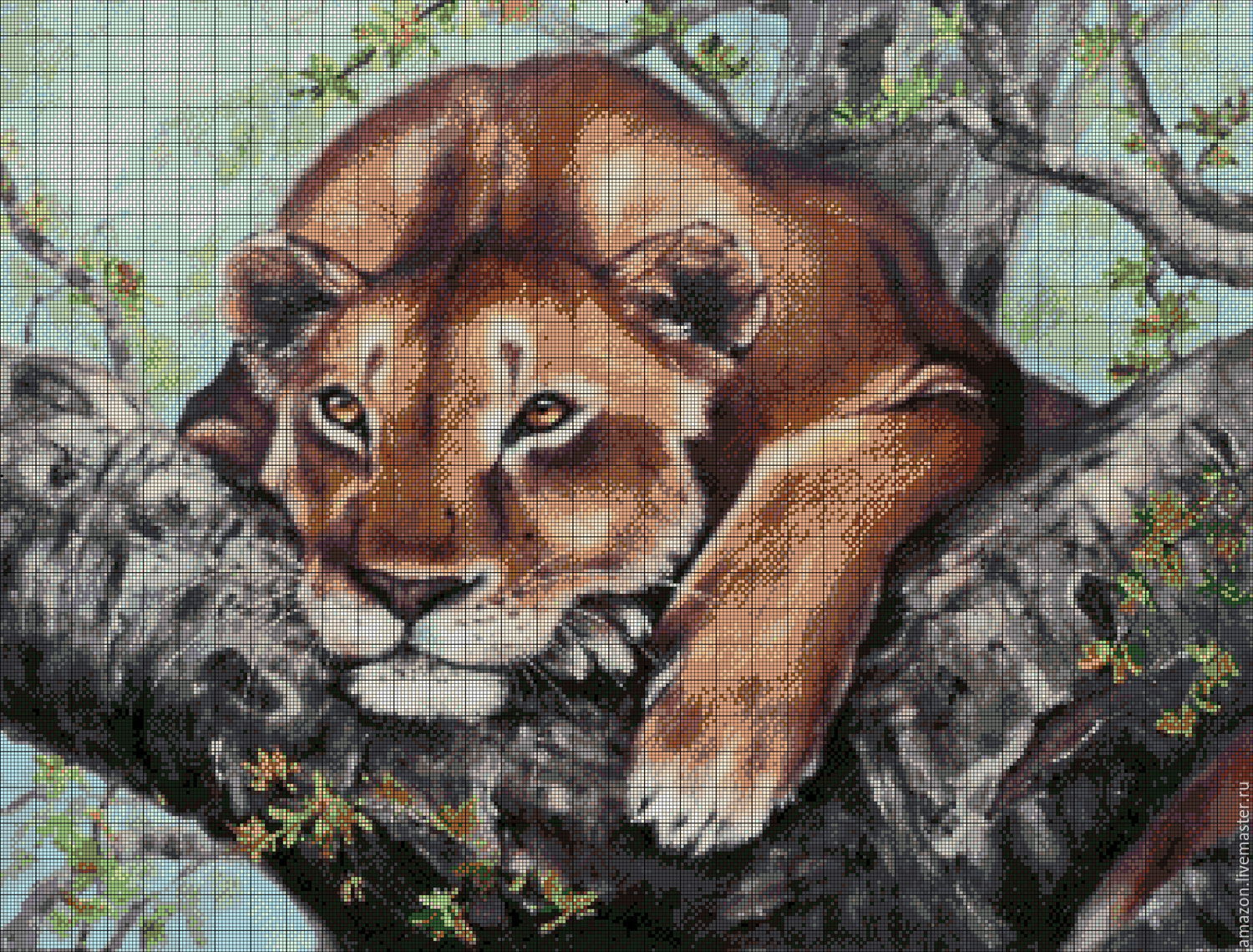 Kit embroidery with beads 'LION AT REST ', Embroidery kits, Ufa,  Фото №1