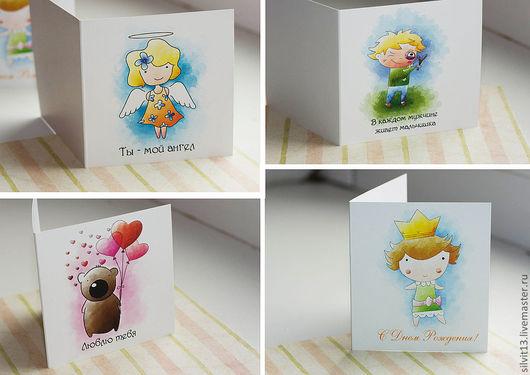 Детские открытки ручной работы. Ярмарка Мастеров - ручная работа. Купить Авторские открытки. Handmade. Открытка, мишка