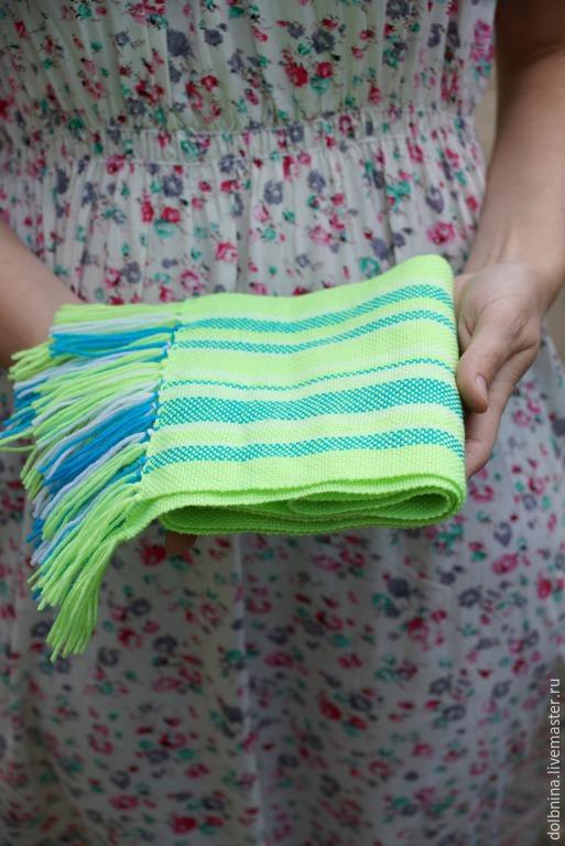 Шапки и шарфы ручной работы. Ярмарка Мастеров - ручная работа. Купить домотканый шарф neon для детей. Handmade. В полоску