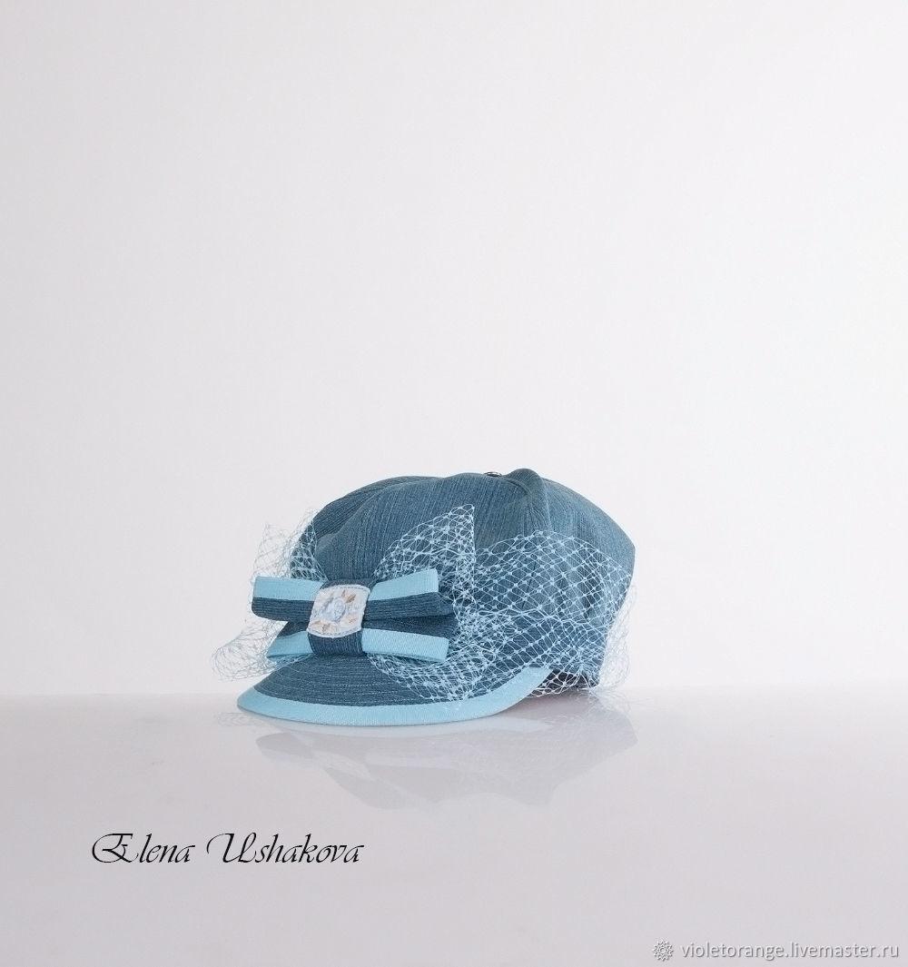 Blue denim cap with veil-style cap. Fashion caps – shop online on ... 74a5ea1a272