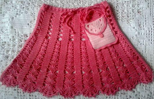 Юбки ручной работы. Ярмарка Мастеров - ручная работа. Купить Летняя ажурная юбка крючком для девочки + сумочка-кошелек в подарок. Handmade.