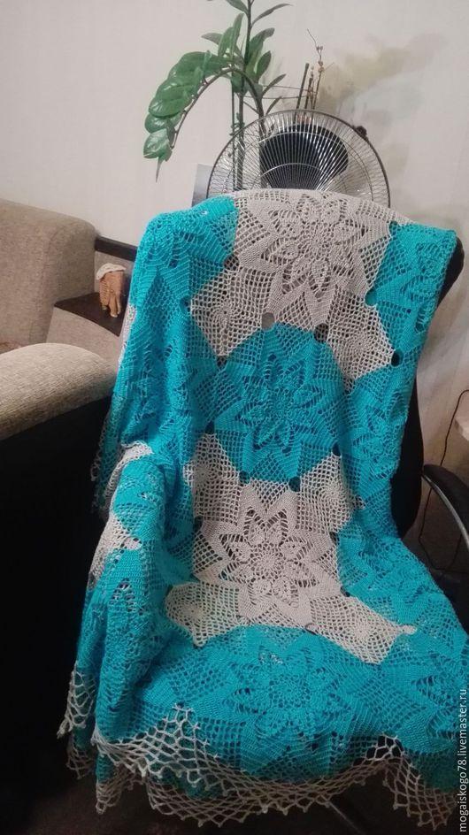Текстиль, ковры ручной работы. Ярмарка Мастеров - ручная работа. Купить Ажурное покрывало вязаное крючком. Handmade. Бирюзовый