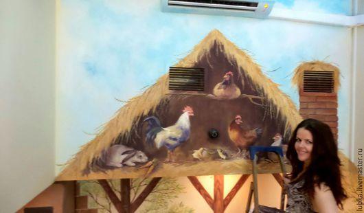 Декор поверхностей ручной работы. Ярмарка Мастеров - ручная работа. Купить Роспись стен в домашнем зоопарке. Handmade. Роспись стен