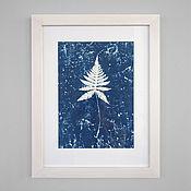 Картины и панно ручной работы. Ярмарка Мастеров - ручная работа Синий отпечаток папоротника в рамке. Handmade.