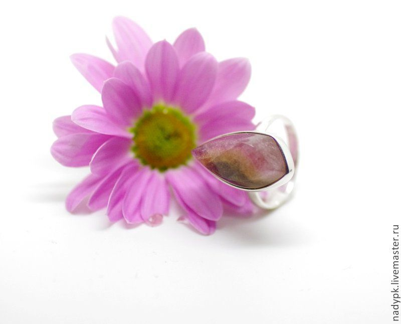 Silver ring Polychrome tourmaline 'Petals', Rings, Moscow,  Фото №1