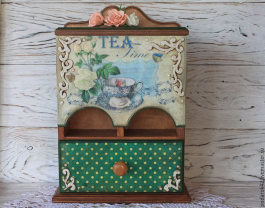 Мини-комоды ручной работы. Ярмарка Мастеров - ручная работа. Купить Чайный буфет Tea time. Handmade. Зеленый