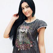 Одежда handmade. Livemaster - original item Linen dress with embroidery