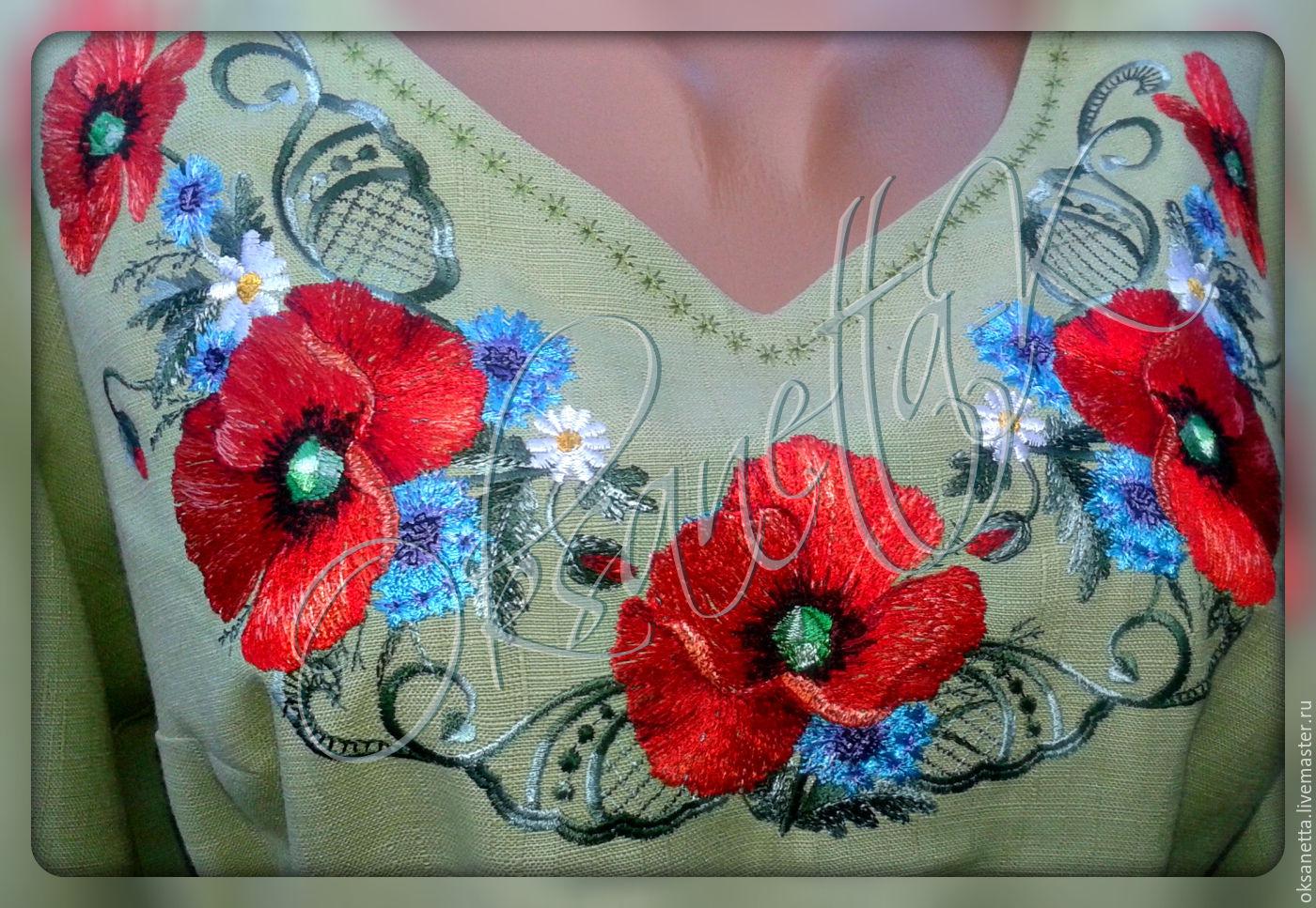 Маки вышивка на платье 946