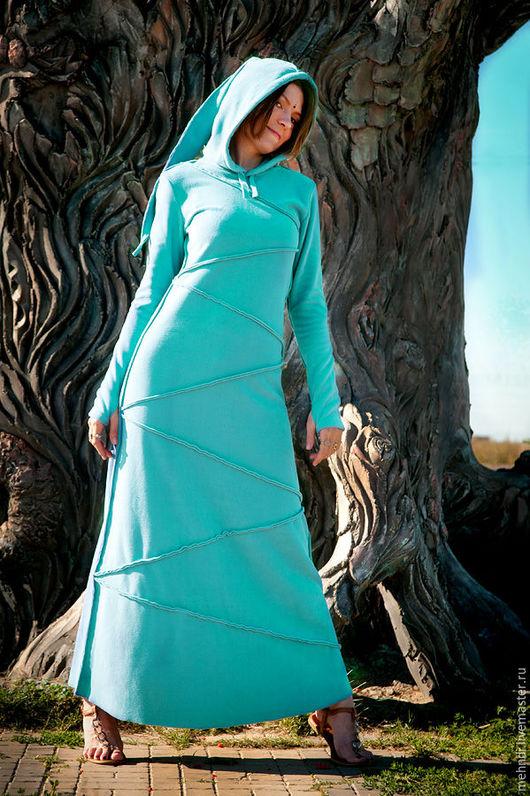 Платья ручной работы. Ярмарка Мастеров - ручная работа. Купить Небо осени. Handmade. Бирюзовый, платье с капюшоном, подарок, русское