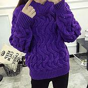 Одежда ручной работы. Ярмарка Мастеров - ручная работа Пуловер фиолетовый. Handmade.