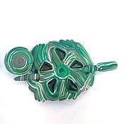 Украшения handmade. Livemaster - original item Clip the ring malachite (fibula, shawl pin, green). Handmade.