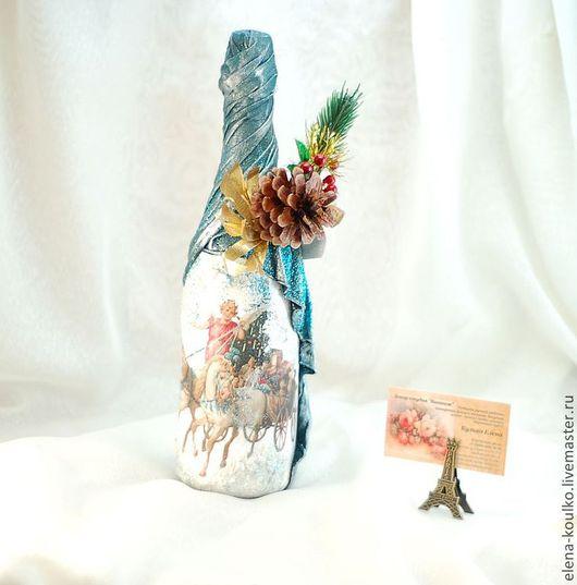 Подарочное оформление бутылок ручной работы. Ярмарка Мастеров - ручная работа. Купить Декор бутылок к празднику. Handmade. Декор бутылок