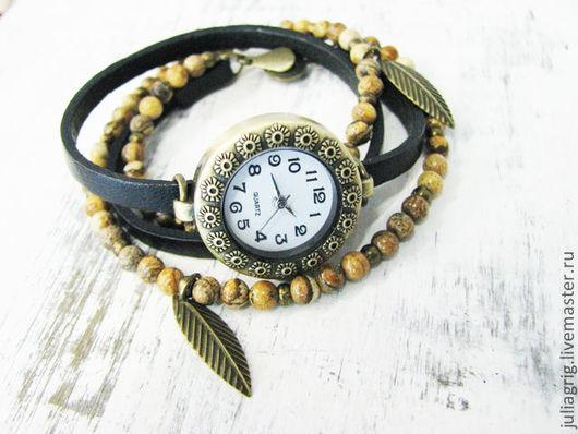 """Часы ручной работы. Ярмарка Мастеров - ручная работа. Купить Часы """"Немного дикие"""". Handmade. Хаки, черный, часы на руку"""
