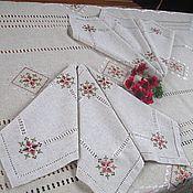 Для дома и интерьера handmade. Livemaster - original item Set of linen embroidered tablecloth and 6 napkins Marsala. Handmade.