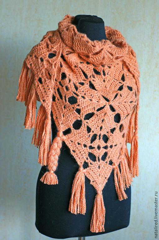 """Шали, палантины ручной работы. Ярмарка Мастеров - ручная работа. Купить Вязаный платок """"Коралл"""". Handmade. Рыжий, из квадратов, оранжевый"""