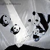 """Аксессуары ручной работы. Ярмарка Мастеров - ручная работа Шелковый платок """"Панды"""". Handmade."""