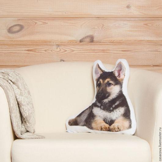 Текстиль, ковры ручной работы. Ярмарка Мастеров - ручная работа. Купить Подушка Щенок овчарки – льняная подушка, подарок любителю собак. Handmade.