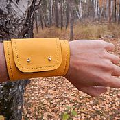 Украшения handmade. Livemaster - original item Leather yellow wide cuff bracelet Yolk. Handmade.