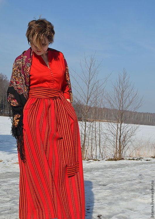 Одежда ручной работы. Ярмарка Мастеров - ручная работа. Купить юбка с кушаком. Handmade. Ярко-красный, юбка в пол