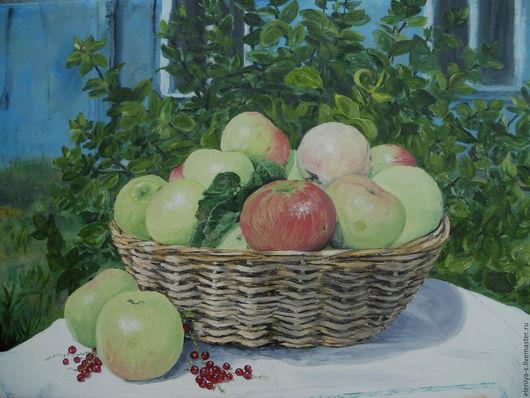 Натюрморт ручной работы. Ярмарка Мастеров - ручная работа. Купить Яблочный спас. Handmade. Зеленый, подарок, картина в подарок
