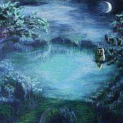 """Картины и панно ручной работы. Ярмарка Мастеров - ручная работа картина из шерсти """" Ночное озеро"""". Handmade."""